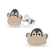 Cheeky Monkey Stud Earrings - Real Sterling Silver - Gift Boxed