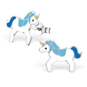 Blue & White Unicorn Earrings - Real Sterling Silver - Boxed