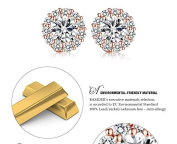BAMOER Rose Gold Plated Round Stud Earrings with AAA Zircon For Women Jewellery boucle d'oreille JIE054