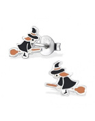 Mon-bijou – h30682 – Earring Witch on Her Broom in Sterling Silver