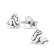 Laimons Women's Childrens Cute Rabbit Oxidised 925 Sterling Silver Stud Earrings