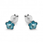 butterfly - Studs for girls, 925 sterling silver, original Elements, Flower light blue