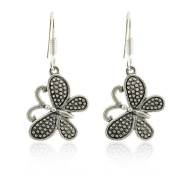 Butterfly Design Dandle Drop Earring Oxidised Silver Jewellery Gift Idea