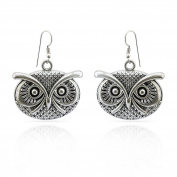 Jewellery Valentine Special design owl Ear Wire Hook Dangle Earrings Retro Tibetan silver for Women Girls