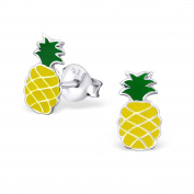 Childrens Girls Yellow Pineapple Stud Earrings - Real Sterling Silver - Boxed