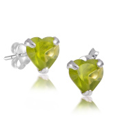Materia # JA-2 3-7 Green – Children's Earrings 925 Silver Small Heart Stud Earrings with Gift Box