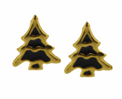 Sl-Silver Children's Earrings 925 Silver Plated Christmas Tree Black