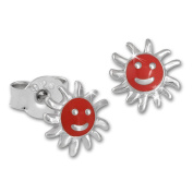 Tee-Wee Kids Red Sun Stud Earring 925er Sterling Silver Stud Jewellery Extra Extra SDO201R