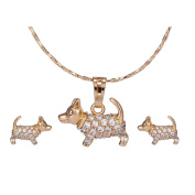 XUPING Gold Plated Animal Earrings Necklace Jewellery Sets Cute Dog Shaped Fashion Jewellery Sets