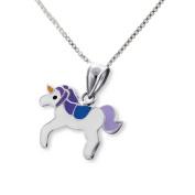 SL-Silver Set Chain Small Unicorn Pendant 925 Sterling Silver in Gift Box