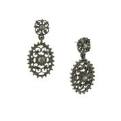 Downton Abbey Jet-Tone Hematite Crystal Oval Filigree Drop Earrings