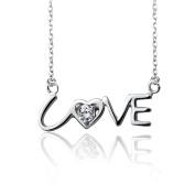 925 Silver Love Lettering Zirconium Oxide Fashion Jewellery Charm Necklace