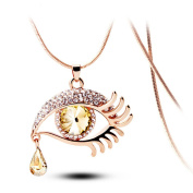 Personality exaggerated modelling long necklace.A drop of crystal tear slipped from her eye