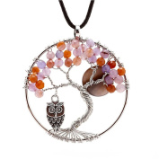 Natural Topaz Handmade Tree Of Life Pendant Necklace - The mangrove Owl And Moon