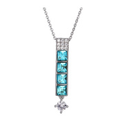 XUPING Platinum Plated Square Light Turquoise Crystal Rectangle Pendant Necklace for Women Girls