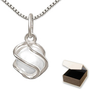 Clever Jewellery Set Silver Pendant with Pearl Umschlugen in a Silver Cage and Venezia 50 cm Glossy 925 Sterling Silver in Case