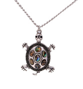Sea Abalone Paua Shell Turtle Necklace in Antique Silver Tone