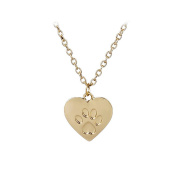 Tinksky Love Heart Paw Prints Pendant Necklace Jewellery Woman Friend Lovers Gift