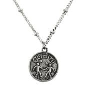 Lux Accessories Burnish Silver Gemini Astrological Pendant Charm Necklace