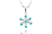 .925 Sterling Silver Blue CZ Simulated Diamond Snowflake Pendant Necklace for Girls