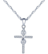 Yumilok Jewellery 925 Sterling Silver Cubic Zirconia Classic Infinity Symbol Cross Pendant Necklace for Women/Girls