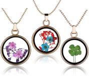 Yumilok 3pcs Real Dry Forget me not/Four Leaf Clover Specimen Transparent Glass Alloy Round Bottle Pendant Necklace for Women/Girls