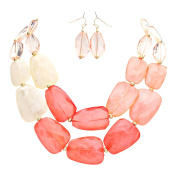Rosemarie Collections Women's Statement Necklace Earring Set Ombre Coral Colour Polished Resin