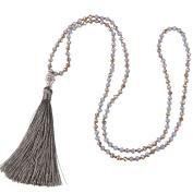 KELITCH Fashion Crystal Strand Necklace Long Chain with Buddha Head Tassel Pendant
