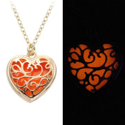 SENFAI Multicolor Glowing Fairy Necklace Magic Heart Flower Shape Glow in the Dark Charm Pendant Necklace