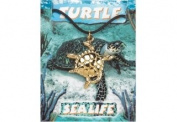 Turtle Pendant, fine english pewter, gold plated