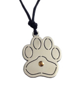 "Stainless Steel and Gold "" Cat's Paw "" Pendant with Cord"
