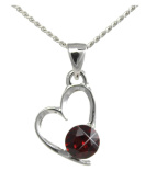 JULY Birthstone Heart Pendant Featuring Element in a Birth Stone RUBY By Sterling Effectz