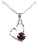 FEBRUARY Birthstone Heart Pendant Featuring Element in a Birth Stone AMETHYST By Sterling Effectz