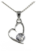APRIL Birthstone Heart Pendant Featuring Element in a Birth Stone DIAMOND By Sterling Effectz