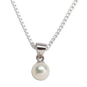 Precious Pieces Girl's Sterling Silver Cultured Pearl Necklace (6mm), 14""