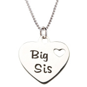 "Precious Pieces Girl's Sterling Silver ""Big Sis"" Charm Necklace, 36cm"