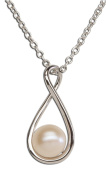 Precious Pieces Women's Sterling Silver Cultured Drop Pearl Pendant Necklace