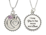 "Precious Pieces Childrens Sterling Silver ""I Love You to the Moon and Back"" Birthstone Necklace, 36cm"