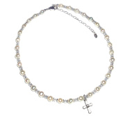 Precious Pieces Girl's Sterling Silver Cross Necklace With Cultured Pearl and Crystal 30cm - 36cm