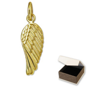 Clever Jewellery Golden Petite Mini Angel Wings Pendant 15 mm Shiny 333 Gold, 8 carat for Children with Case