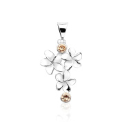 Pure 925 sterling silver,triple flower design pendant with champagne CZ