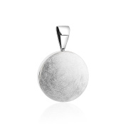 Bold and simple, 925 sterling silver round Pendant with silver Ice finish.
