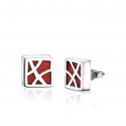 Bold and Modern, Pure 925 Sterling Silver Square Ear studs with Natural Coral Inlay