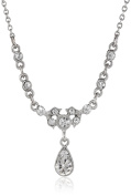 Downton Abbey Boxed Silver-Tone and Crystal Petite Drop Pendant Necklace of 40.64-48.26cm