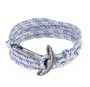 Men Adjustable Nautical Anchor Wrap Cuff Bracelets Twining Weave Nylon Rope Punk DIY Sailing