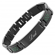 DAD Titanium Bracelet Engraved Love You Dad Carbon Fibre Adjusting Tool & Gift Box Included