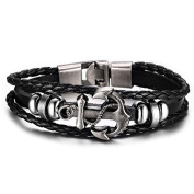 """SALVATORE"" Collection by Vittore - Black Leather Braided Bracelet With Stainless Steel Buckle - Anchor Bracelet"
