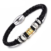"""OVIDIO"" Collection by Vittore - Genuine Leather Bracelet with Titanium Beads In Gift Box"