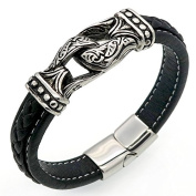 """EMILIANO"" Collection by Vittore - Black Leather Bracelet With Stainless Steel Aztec Knot - Bracelet Designs for Men"