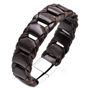 """""""ENZO"""" Collection by Vittore - Leather Braided Bracelet With Stainless Steel Magnetic Clasp"""